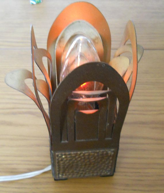 Vintage lamp desk table metal Fireplace-art by LucyMarket on Etsy