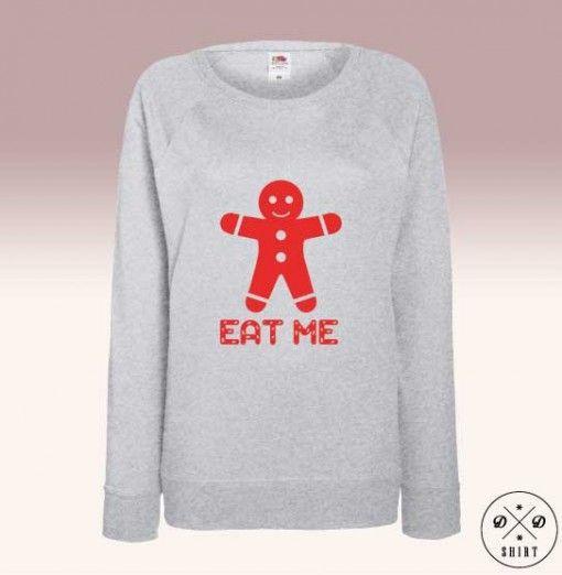 Bluza świąteczna, idealna na prezent! Piernik z napisem Eat me. Christmas sweatshirt with gingerbread. www.ddshirt.pl