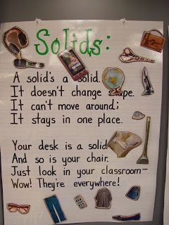 Solid, Liquid, Gas Charts. Have poem written out and let students find pictures to add in a magazine