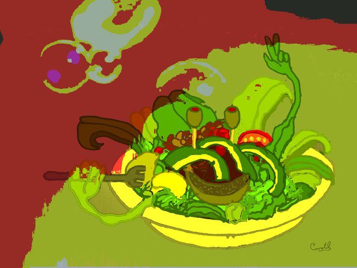 ¿Comida rápida y saludable?  ilustración de Carolil Círculo Aleph