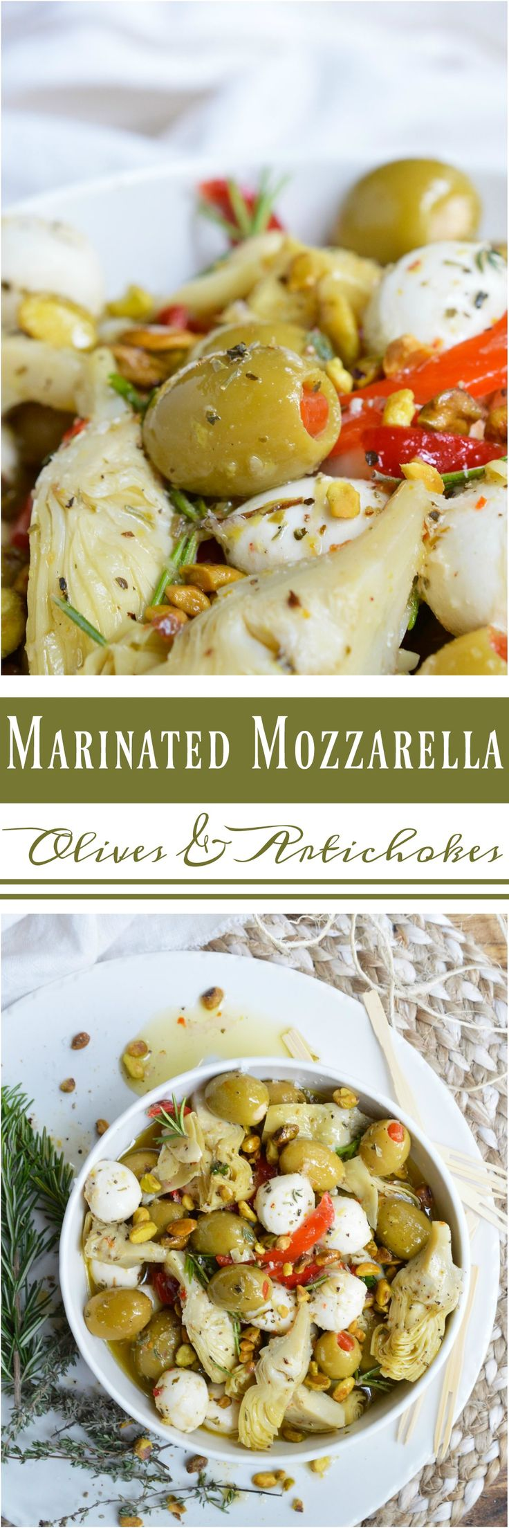 For a quick and easy appetizer, make these Marinated Mozzarella Balls, Artichokes and Olives. This appetizer recipe is full of garlic and fresh herb flavor. Perfect for serving at holiday feasts and parties!