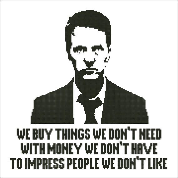 Fight club - Tyler Durden quote silhouette - PDF cross stich pattern on Etsy, $3.50