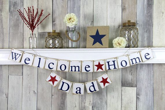 Welcome Home Daddy Military Homecoming Banner by WeddingBannerLove