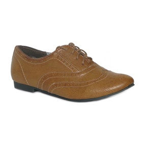 Womens Tan Lace Up Brogue Shoe on a Low Heel - www.shoezone.com - £12.99