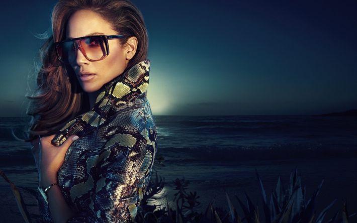 Download imagens Jennifer Lopez, Cantora norte-americana, retrato, vestido de pele de crocodilo, make-up, mulher bonita