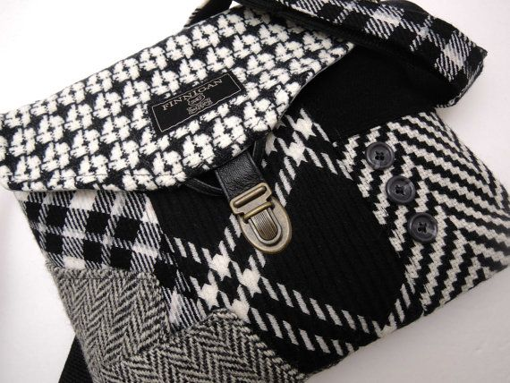 Crossbody Purse iPhone pocket Recycled mens suit von SewMuchStyle