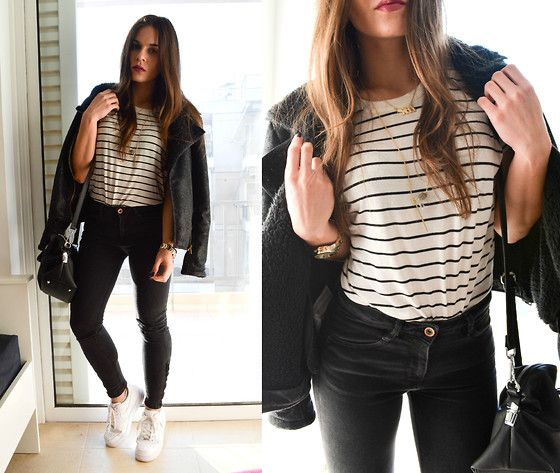 Pull & Bear Jacket, Zara Bag, Zara T Shirt, Asos Watch, Nike Air Force1, Pull & Bear Black Jeans
