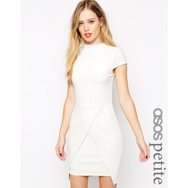 ASOS PETITE Mini Dress with High Neck in Texture ($26) ❤ liked on Polyvore featuring dresses, cream, petite, white dress, cream dress, white wrap skirt, short white dresses and bodycon dress