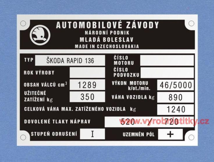 Výrobní štítek Škoda Rapid 136
