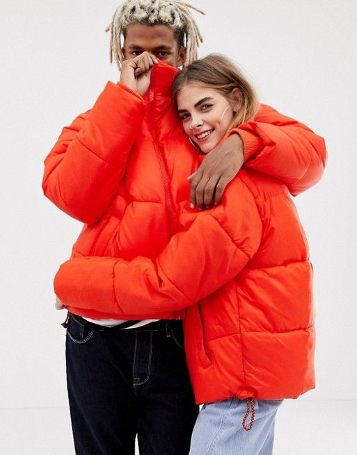 52ea8d4e374 COLLUSION Unisex puffer jacket in red in 2019 | ASOS | Puffer ...