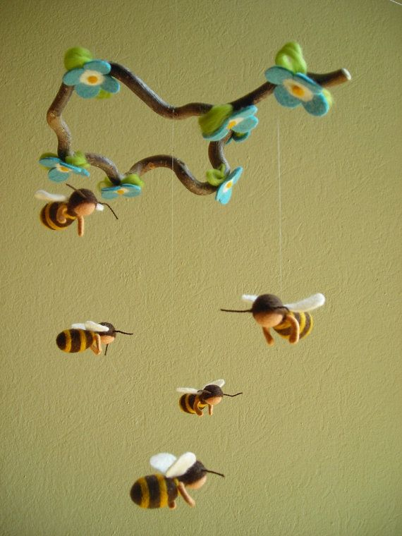BEES MOBILE felted waldorf inspired by naturechild on Etsy