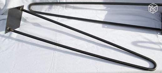 Pied de table en épingle en acier brut