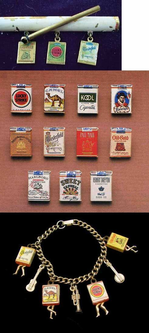 Two Eppy miniature Tareyton cigarette packs via The Mule Wagon Antiques & Collectibles Among the charms made to resemble tiny packages, cigarettes figure prominently. Some of these were kid's vending machine charms, of the type we featured last Friday… 9 cigarette pack charms from Eureka Gumball Charm Nirvana Not the sort of toys today's parents …