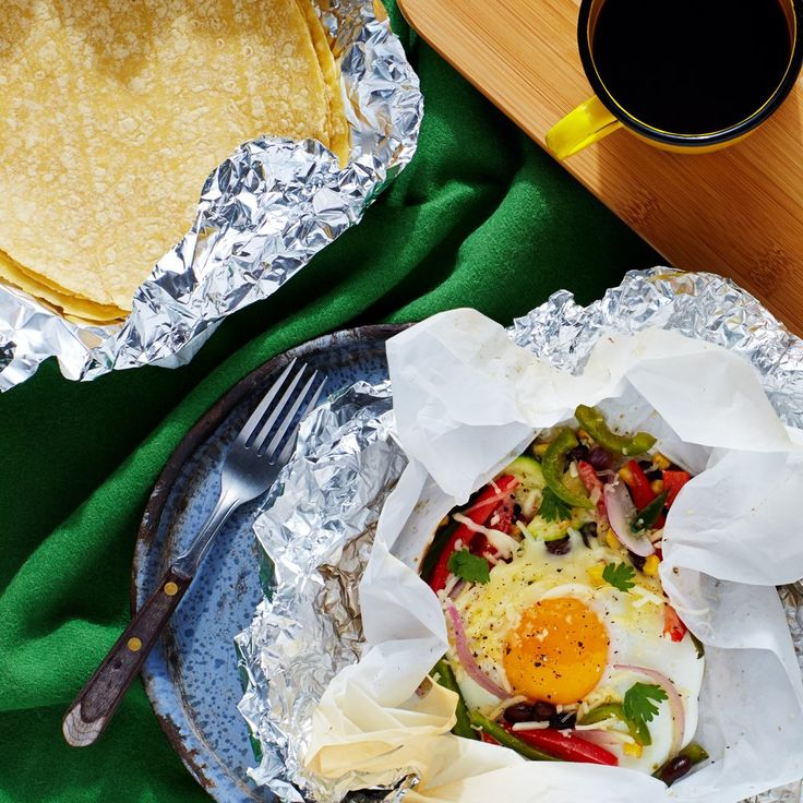 Camping breakfast ideas. Why haven't I done this before? I always do 'hobo packs' for dinner!