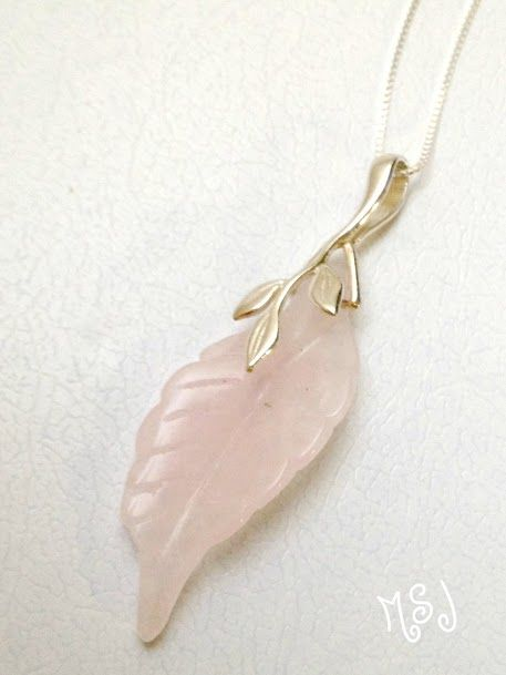 Pink Leaf Quarts in sterling silver