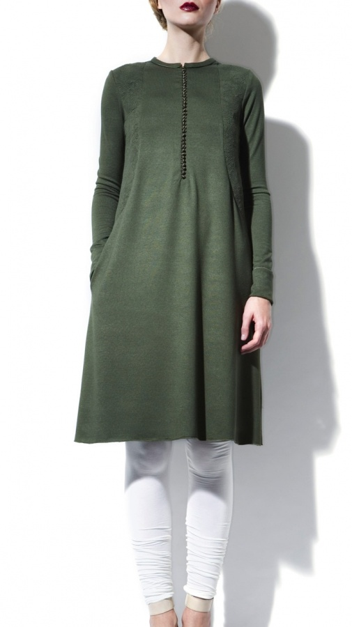 Long Sleeve Green Jersey Tunic Dress + leggings | Strandofsilk.com - Indian Designers | fall autumn style