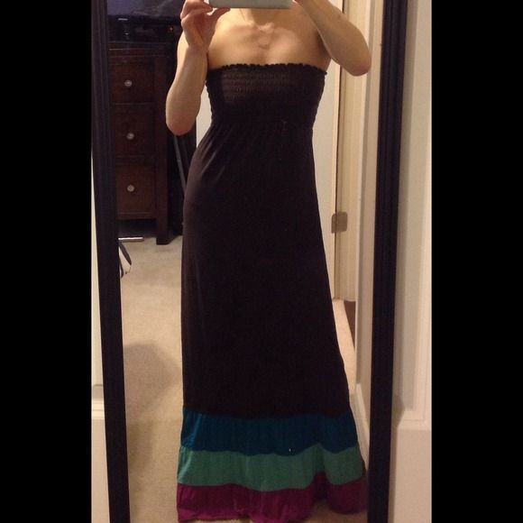 Brown Maxi Dress Brown Maxi Dress with purple and turquoise bottom detail Dresses Maxi