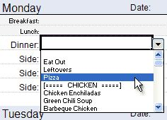 make a monthly menu. Awesome Excel template with a drop down menu you can plug your own family favorites into. Plug in amounts and it will generate a grocery list, too. And it's free.