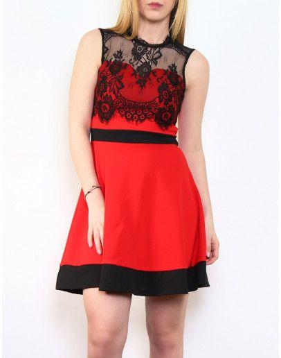 Vestidos encaje rojo y negro