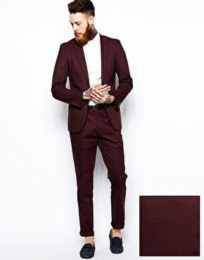 Image 1 ofASOS Slim Fit Suit in Burgundy Poplin