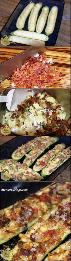 Stuffed Zucchini Recipe - These are SO easy and delicious. You could totally make these up ahead of time, refrigerate, and throw them in the oven to bake before your meal.
