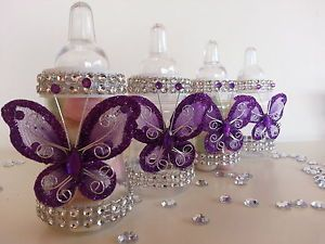 Elegant 12 Purple Fillable Butterfly Bottles Baby Shower Favors Prizes Girl  Decorations