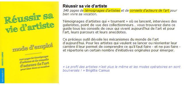 R ussir sa vie d artiste brigitte camus 19 5 books for Brigitte camus