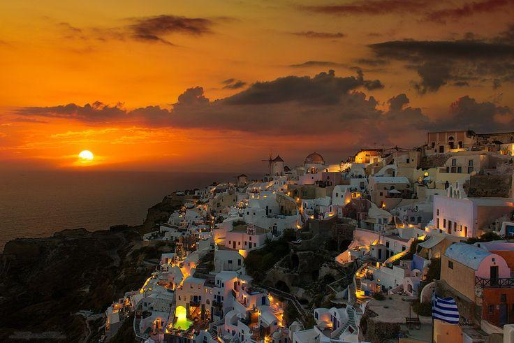 Санторин, Греция. Закат