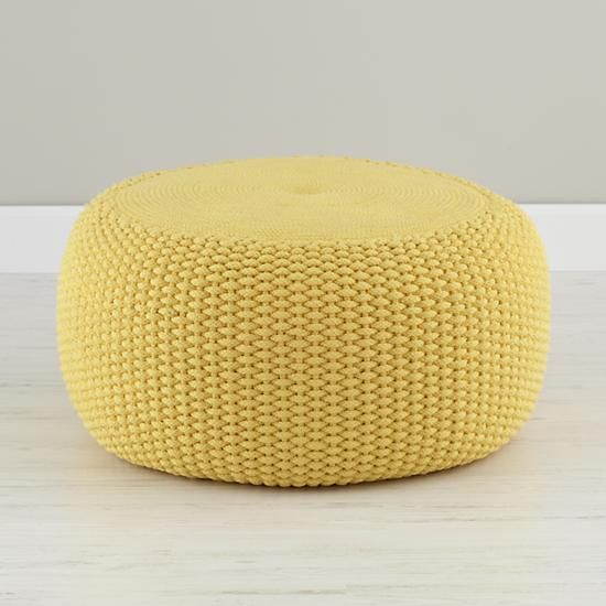 Yellow Braided Pouf in Poufs & Floor Pillows | The Land of Nod