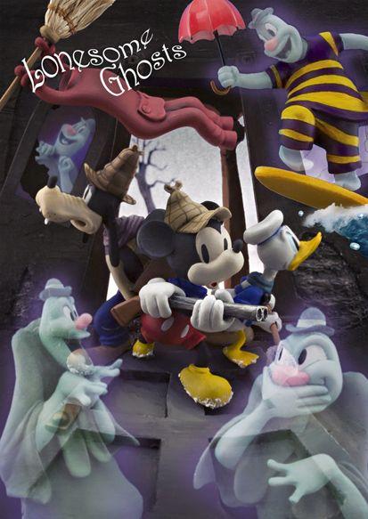 ディズニー ミッキー sisa 3Dポストカード ミッキーのお化け退治 S3589