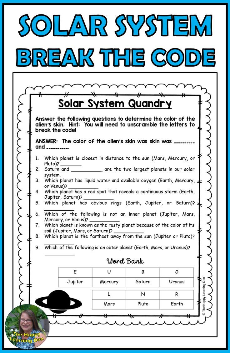 Solar System Break the Code! Your students will LOVE breaking the code as  they work through these eng…   Solar system lessons [ 1128 x 736 Pixel ]