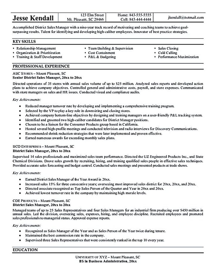 Resume Resume Sample Regional Manager good sales resume examples regional example retail sample rep template resume