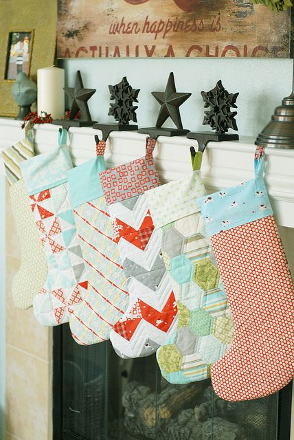 DIY stockings. I LOVE this. We all had hand-quilted stockings that my mom made when I was growing up. I STILL treasure that stocking to this day (and it's the one that is the most magical to me). I really want to start the tradition of making a stocking for each family member. The kids will love it!!