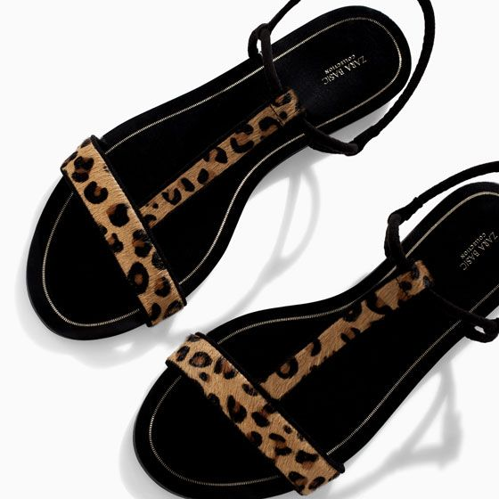 Printed leather sandal with edging from Zara