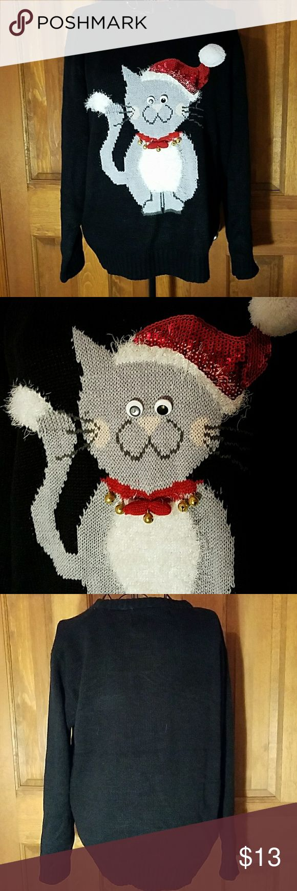 Ugly cat Christmas sweater Cute but ugly cat christmas sweater worn once. Sweaters