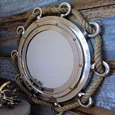 Large Nautical Nickel Finish Rope Porthole Mirror