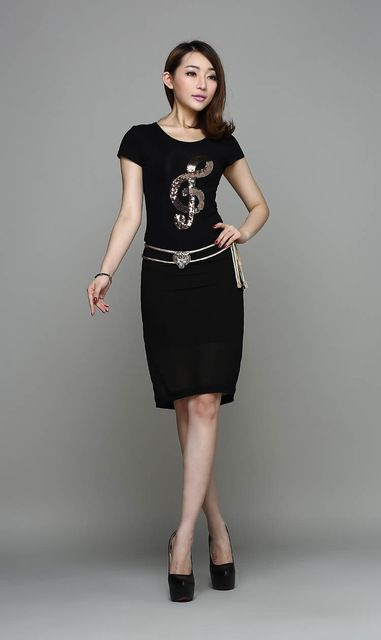 Free shipping fashion new sequins music note pattern T-shirt + Skirt women Slim Suit wholesale US $265.90 /lot (5 pieces/lot) Specifics Item Type Tops Tops Type Tees Gender Women Decoration Sequined Clothing Length Regular Sleeve Style Regular Pattern Type Geometric Brand Name white Style Fashion Fabric Type Broadcloth Material Polyester Collar O-Neck Color Style Natural Color Sleeve Length Short Model Number   Click to Buy :http://goo.gl/t9O329