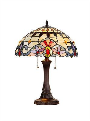 Handcrafted 2-Light Victorian Tiffany Style Stained Glass Table Lamp / 16