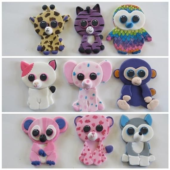 Beanie Boos customized edible fondant cupcake toppers in ...