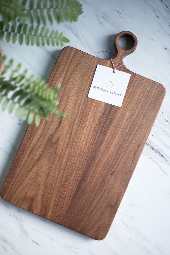 The Wide Farmhouse – Walnut Wood Cutting Board with Handle / Serving Board / Wood Cutting Board – FREE CARE KIT