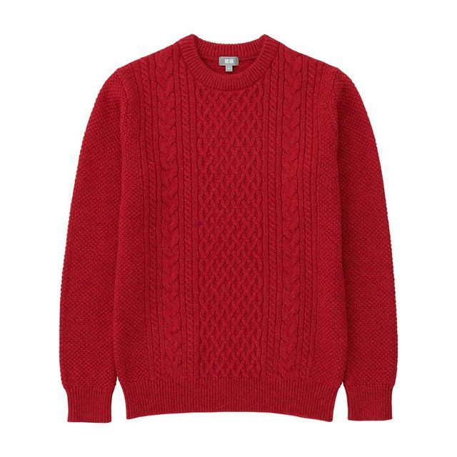 Uniqlo men heattech cable crewneck sweater, $40 uniqlo.com