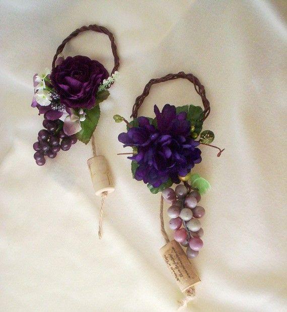 Wedding Centerpiece Grape Purple Wine Bottle Toppers by AmoreBride, $13.95