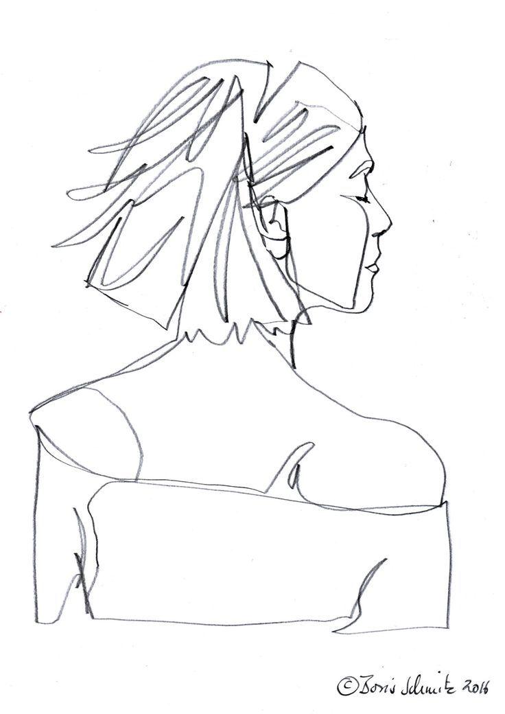 """profil perdu 43″, continuous line drawing by Boris Schmitz – Алёна Тихомирова"