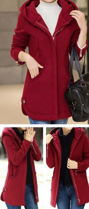 Wine Red Hooded Collar Zipper Up Curved Coat.
