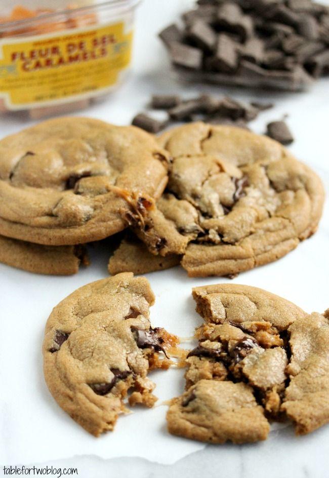 Carmel stuffed chocolate chunk cookies #dessert #chocoholic