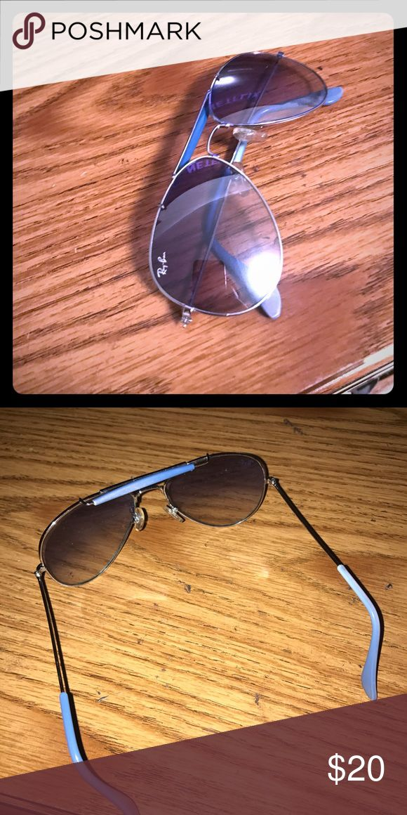 Blue petite RayBan aviators Blue RayBan sunglasses. Price reflects authenticity. Good condition. Ray-Ban Accessories Sunglasses