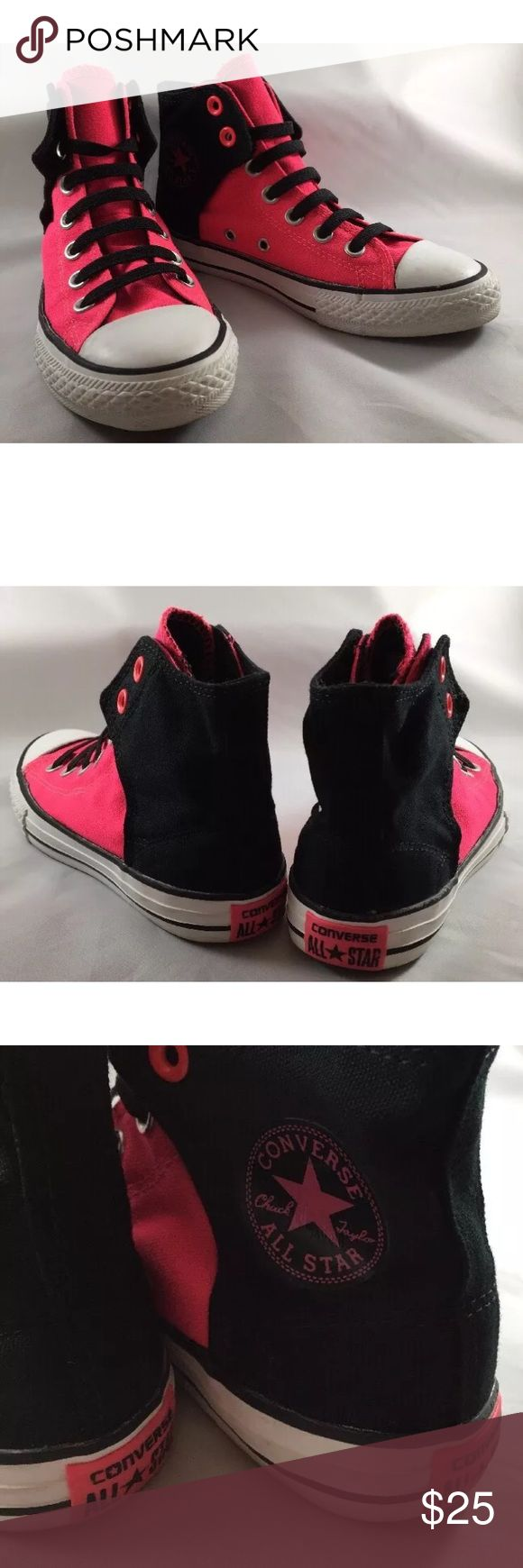 Girls converse high top pink black sneakers Converse all stars - very gently used shoes - big girl size 2 - Velcro Converse Shoes Sneakers