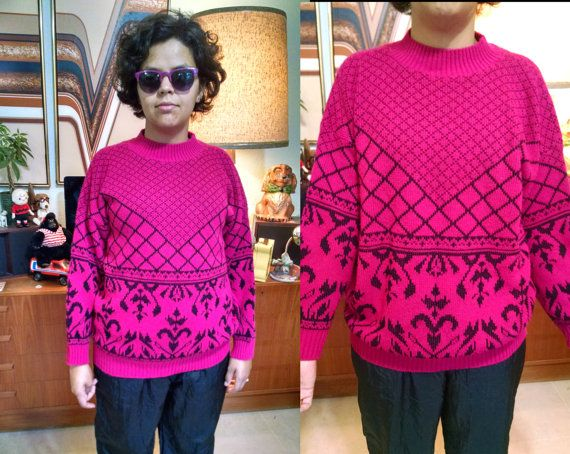 Totally Tubular 80s 90s Hot Pink Sweater by HoityToityKnickKnack
