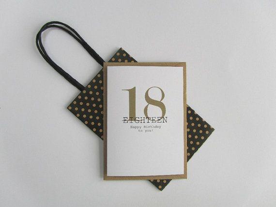 18th Birthday card. Happy 18th Birthday. Gold and black birthday card. Modern typography age birthday card. Recycled birthday card 18 today.