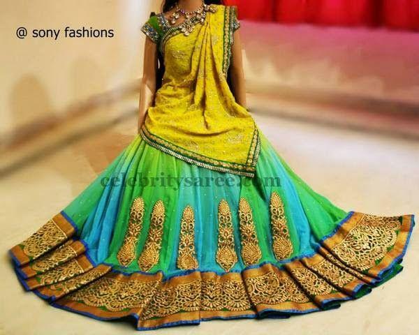 Antique Work half Sari in Tri Color   Saree Blouse Patterns
